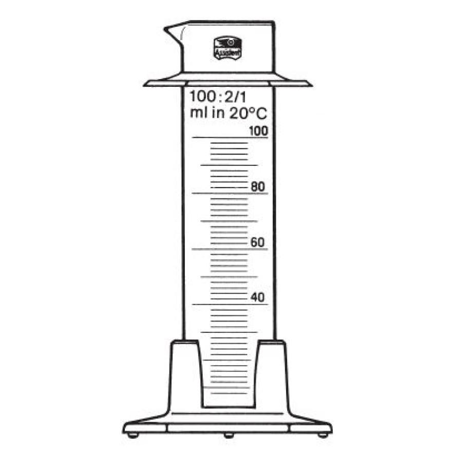 Messzylinder, niedrige Form 100 ml Graduierung 2 ml, Sechskant ...